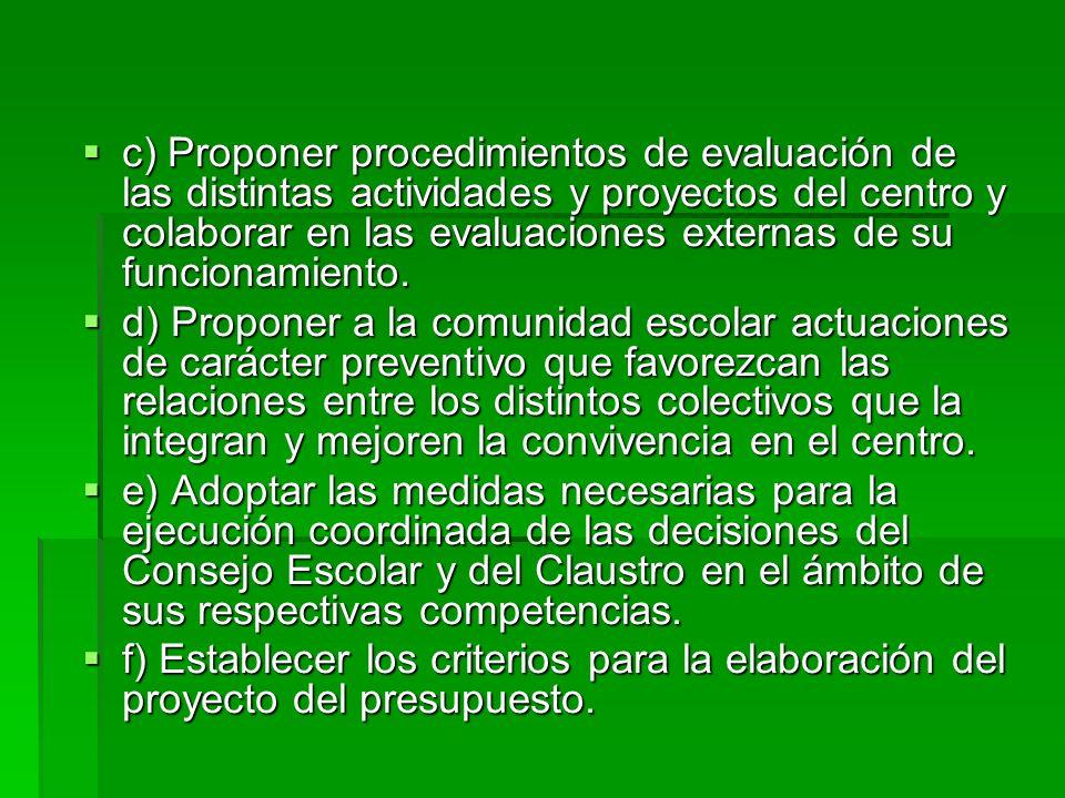 c) Proponer procedimientos de evaluación de las distintas actividades y proyectos del centro y colaborar en las evaluaciones externas de su funcionamiento.