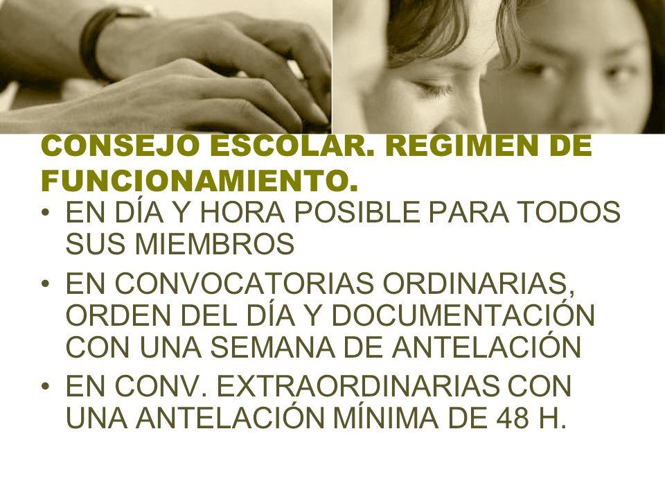CONSEJO ESCOLAR. REGIMEN DE FUNCIONAMIENTO.