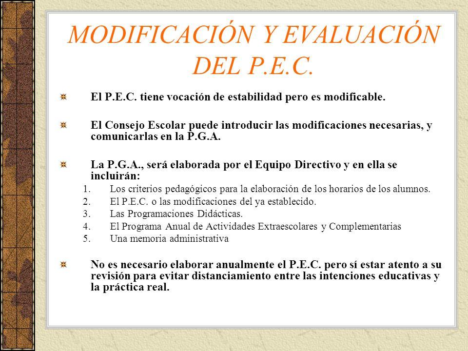 MODIFICACIÓN Y EVALUACIÓN DEL P.E.C.