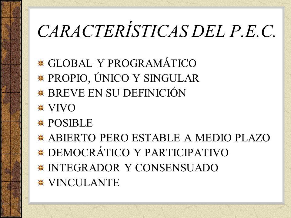 CARACTERÍSTICAS DEL P.E.C.