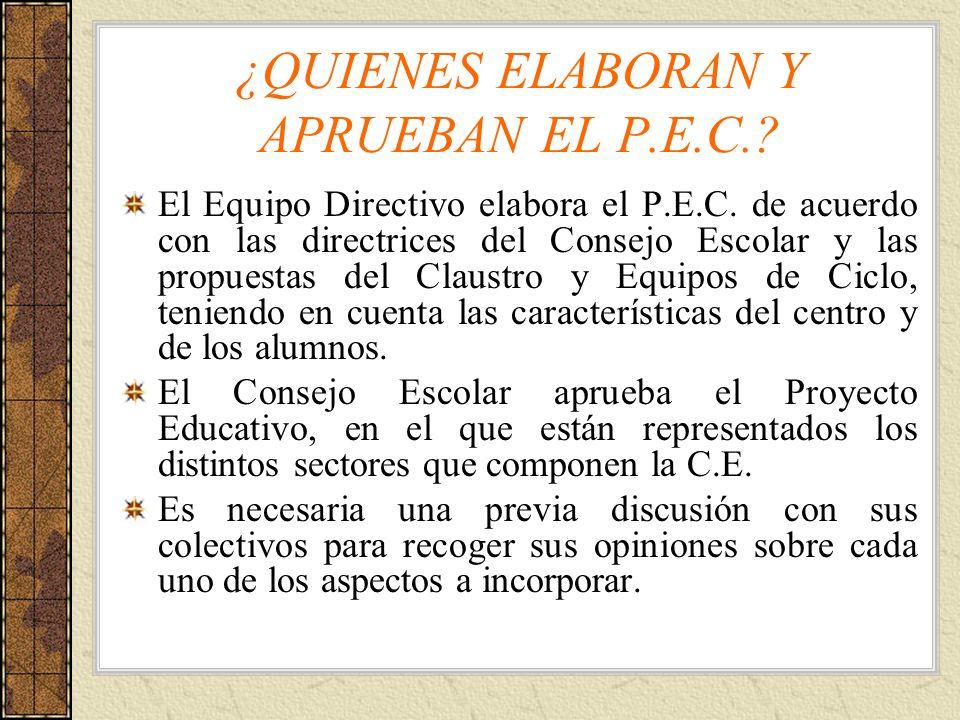 ¿QUIENES ELABORAN Y APRUEBAN EL P.E.C.