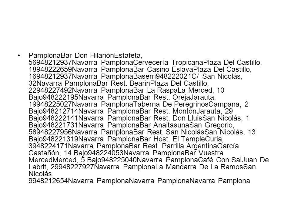 PamplonaBar Don HilariónEstafeta, 56948212937Navarra PamplonaCervecería TropicanaPlaza Del Castillo, 18948222659Navarra PamplonaBar Casino EslavaPlaza Del Castillo, 16948212937Navarra PamplonaBaserri948222021C/ San Nicolás, 32Navarra PamplonaBar Rest.