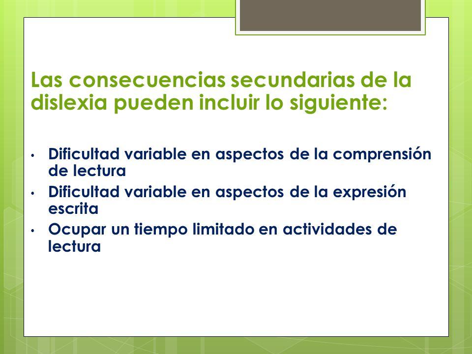 Las consecuencias secundarias de la dislexia pueden incluir lo siguiente: