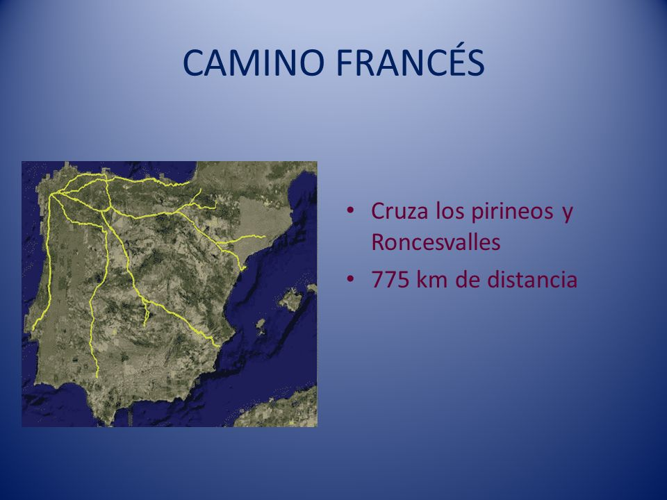 CAMINO FRANCÉS Cruza los pirineos y Roncesvalles 775 km de distancia