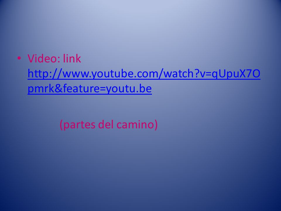Video: link http://www.youtube.com/watch v=qUpuX7Opmrk&feature=youtu.be
