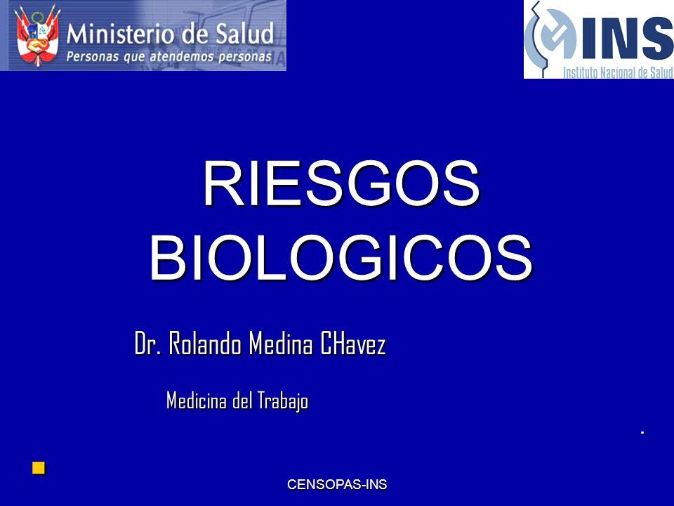 RIESGOS BIOLOGICOS Dr. Rolando Medina CHavez Medicina del Trabajo .