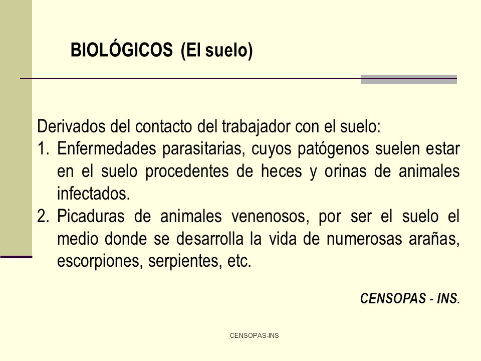 BIOLÓGICOS (El suelo) Derivados del contacto del trabajador con el suelo: