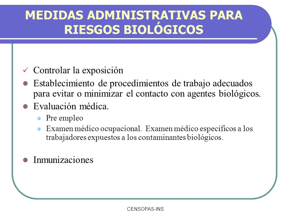MEDIDAS ADMINISTRATIVAS PARA RIESGOS BIOLÓGICOS