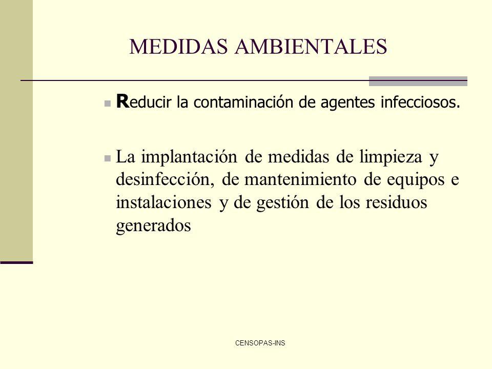 MEDIDAS AMBIENTALES Reducir la contaminación de agentes infecciosos.