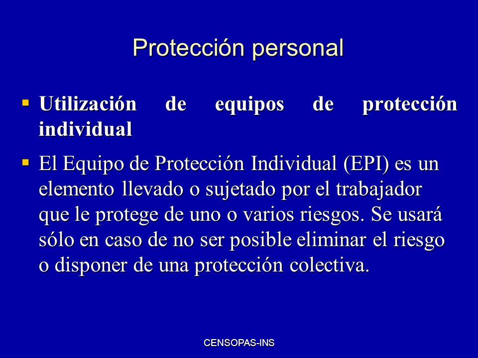 Protección personal Utilización de equipos de protección individual