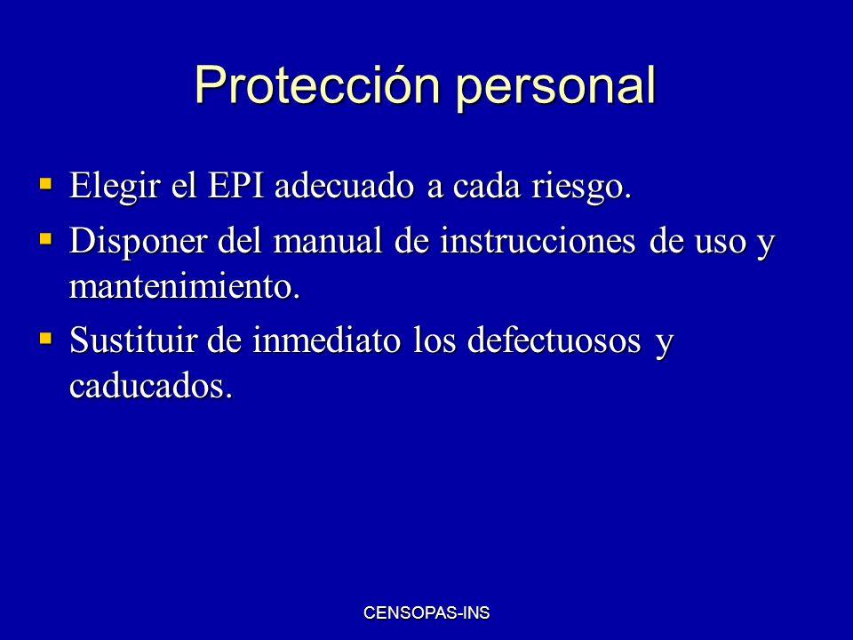 Protección personal Elegir el EPI adecuado a cada riesgo.