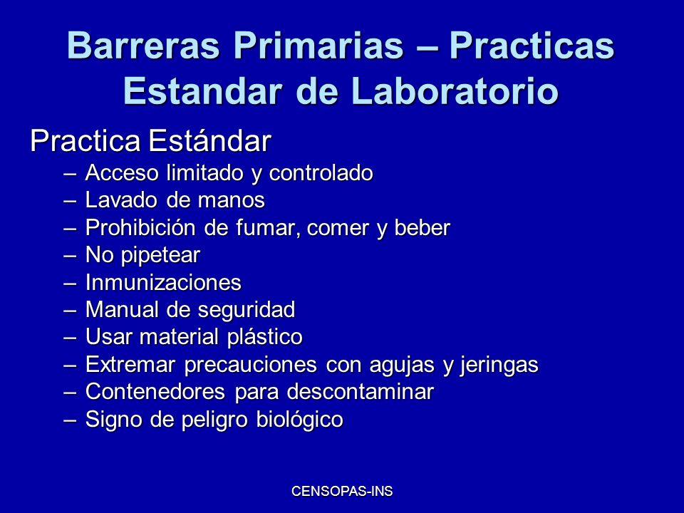 Barreras Primarias – Practicas Estandar de Laboratorio