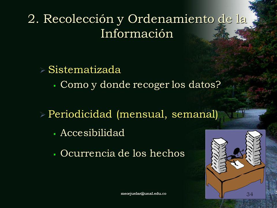 2. Recolección y Ordenamiento de la Información