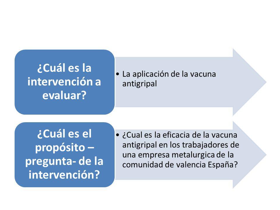 ¿Cuál es la intervención a evaluar