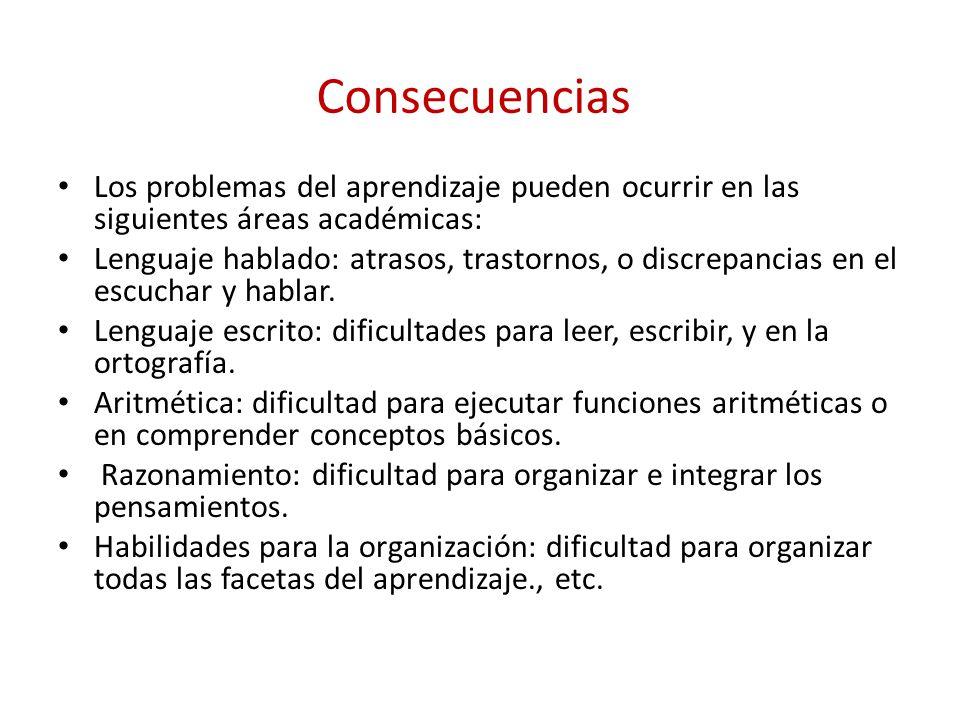 Consecuencias Los problemas del aprendizaje pueden ocurrir en las siguientes áreas académicas: