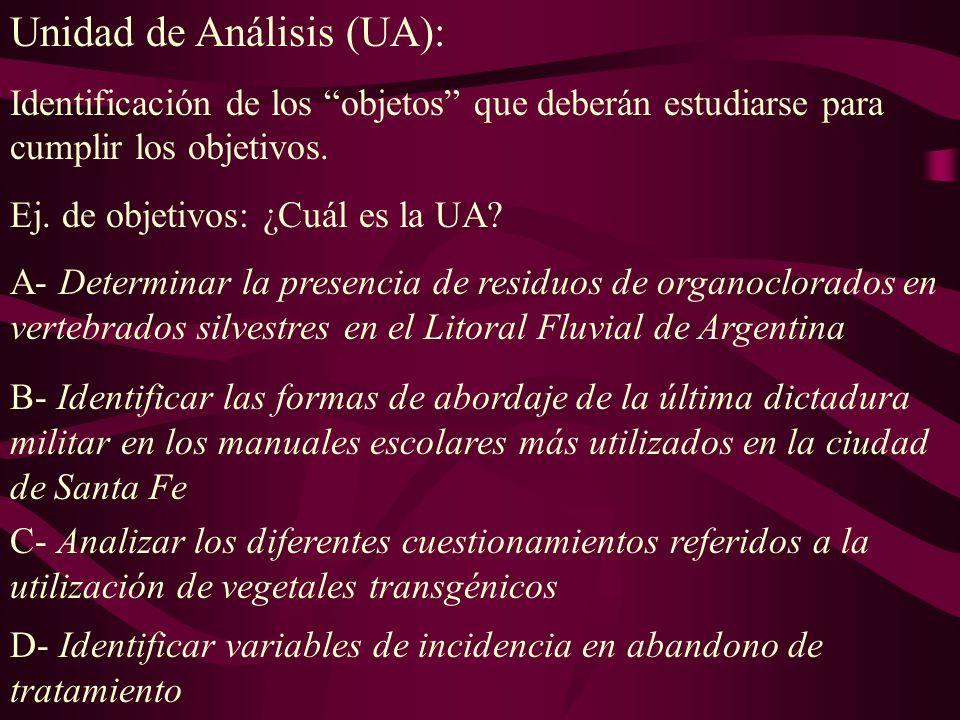 Unidad de Análisis (UA):