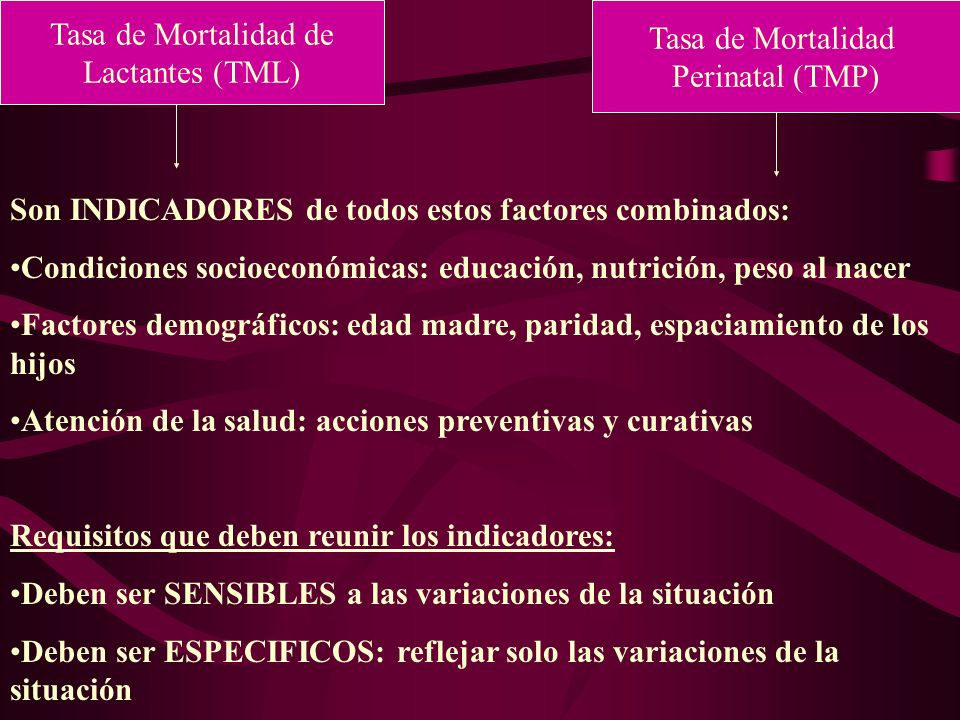 Tasa de Mortalidad deLactantes (TML) Tasa de Mortalidad. Perinatal (TMP) Son INDICADORES de todos estos factores combinados: