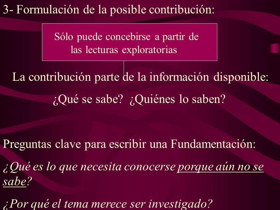 3- Formulación de la posible contribución: