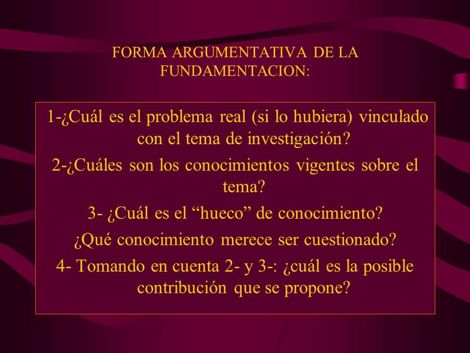 FORMA ARGUMENTATIVA DE LA FUNDAMENTACION: