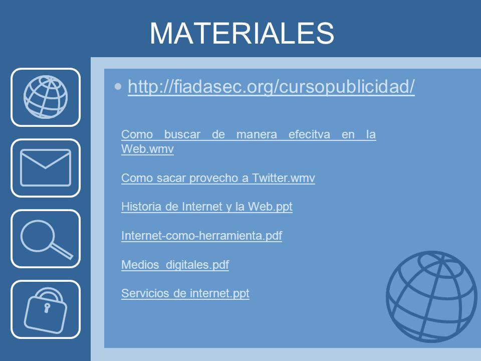 MATERIALES http://fiadasec.org/cursopublicidad/