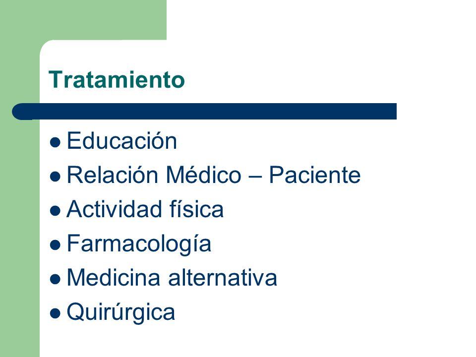 Tratamiento Educación. Relación Médico – Paciente. Actividad física. Farmacología. Medicina alternativa.