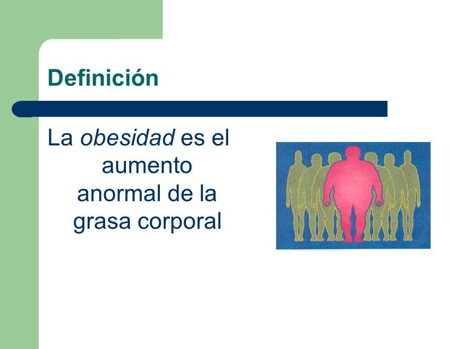 La obesidad es el aumento anormal de la grasa corporal