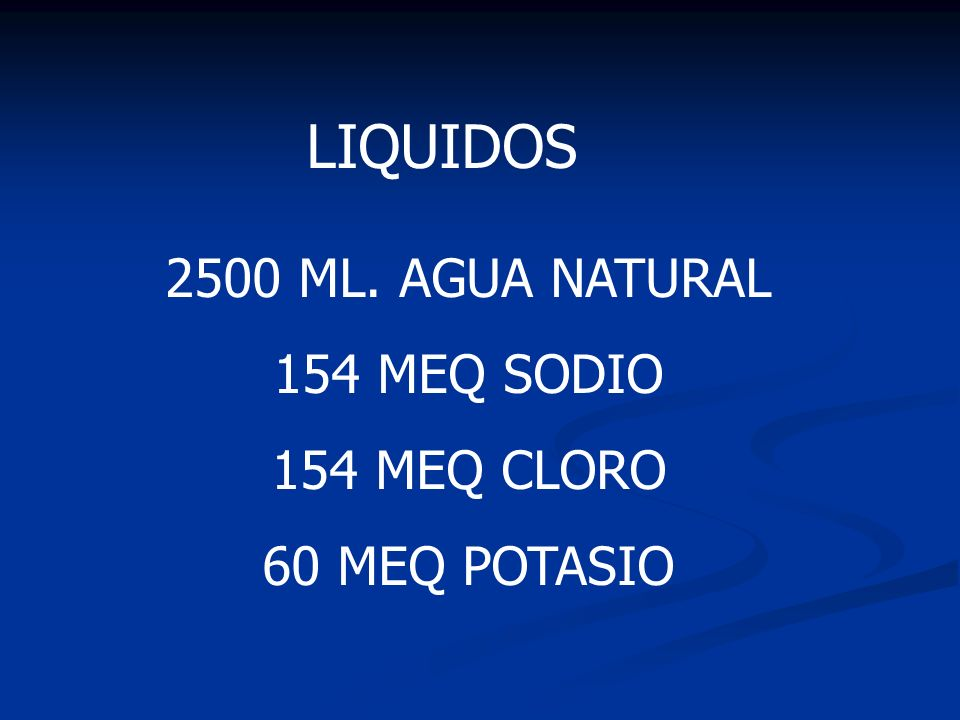 LIQUIDOS 2500 ML. AGUA NATURAL 154 MEQ SODIO 154 MEQ CLORO