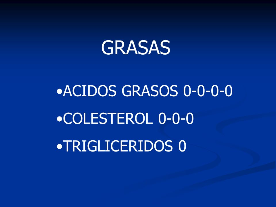 GRASAS ACIDOS GRASOS 0-0-0-0 COLESTEROL 0-0-0 TRIGLICERIDOS 0