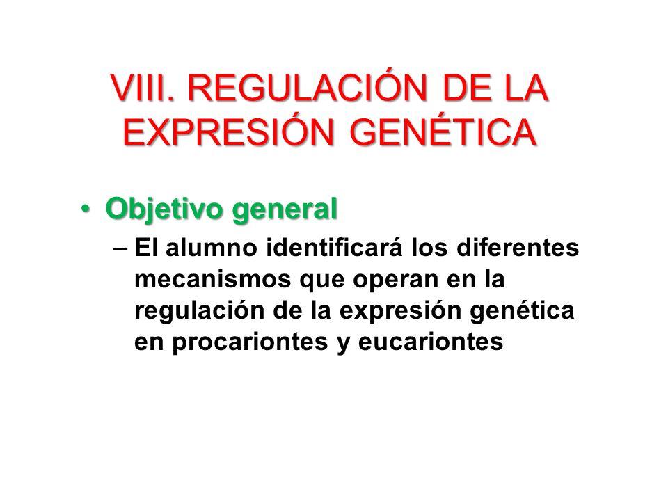 VIII. Regulación de la Expresión genética
