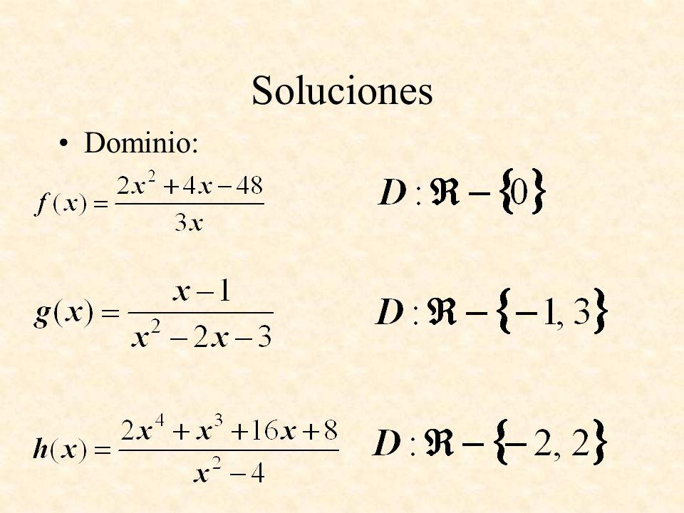 Soluciones Dominio: