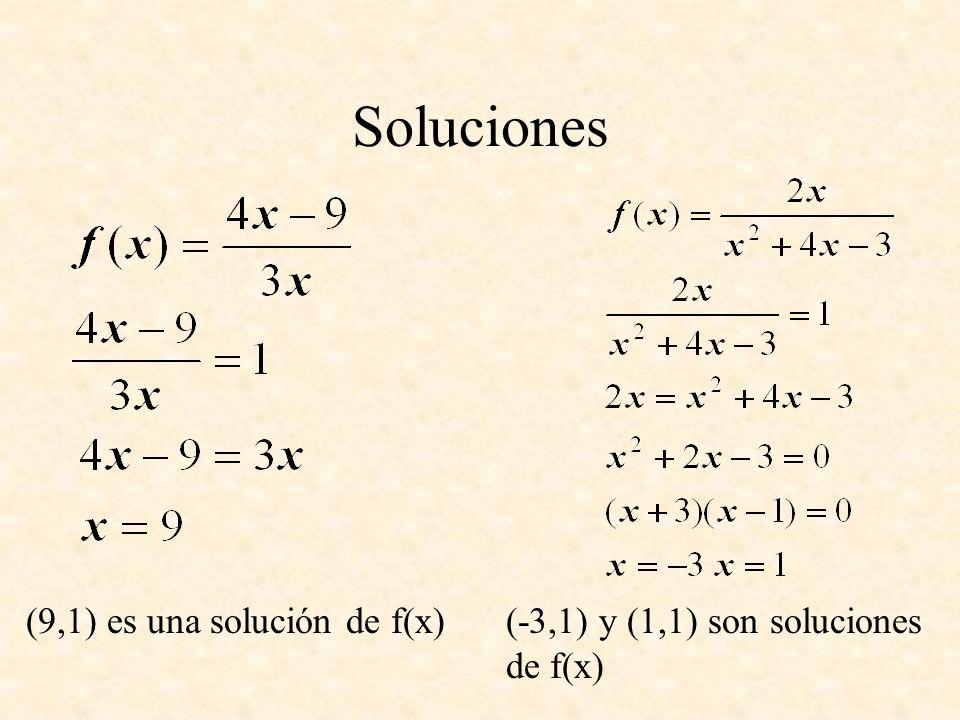 Soluciones (9,1) es una solución de f(x)