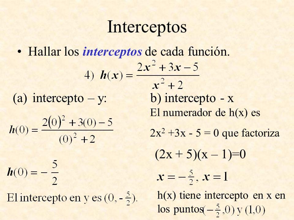 Interceptos Hallar los interceptos de cada función.