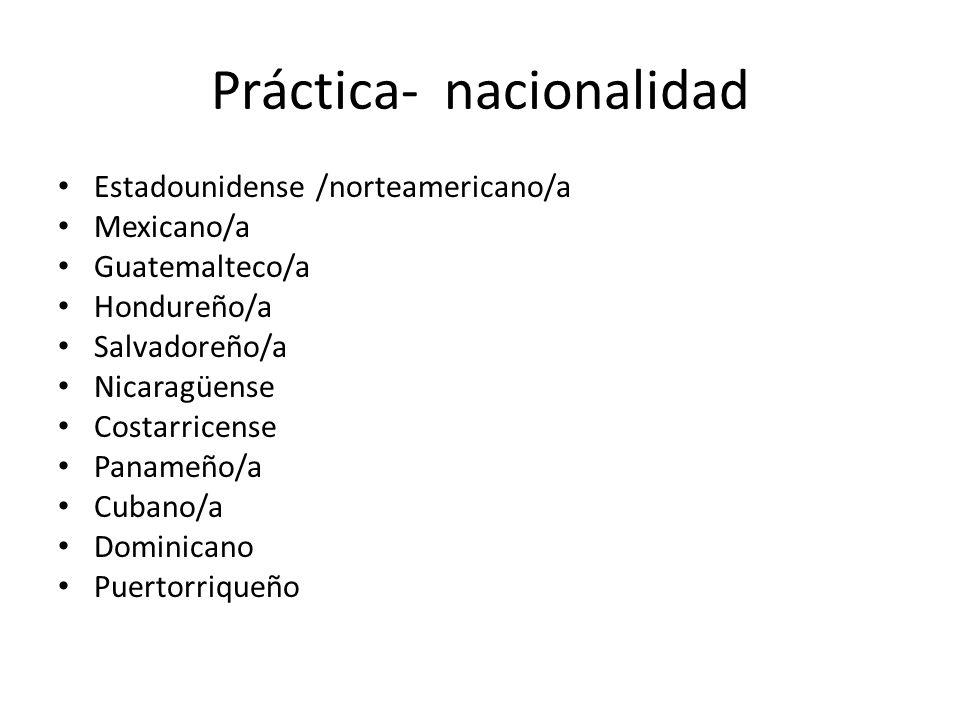 Práctica- nacionalidad