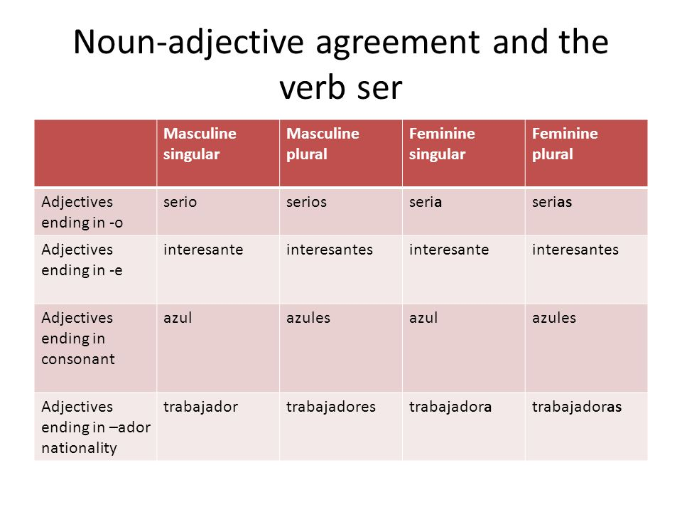 Noun-adjective agreement and the verb ser
