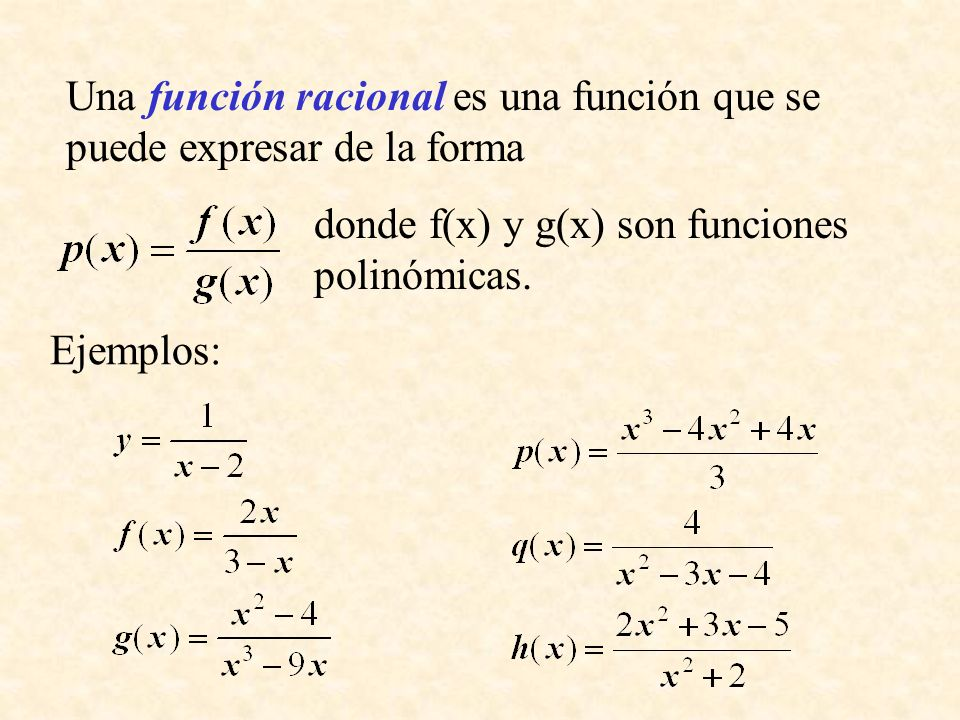 Una función racional es una función que se puede expresar de la forma