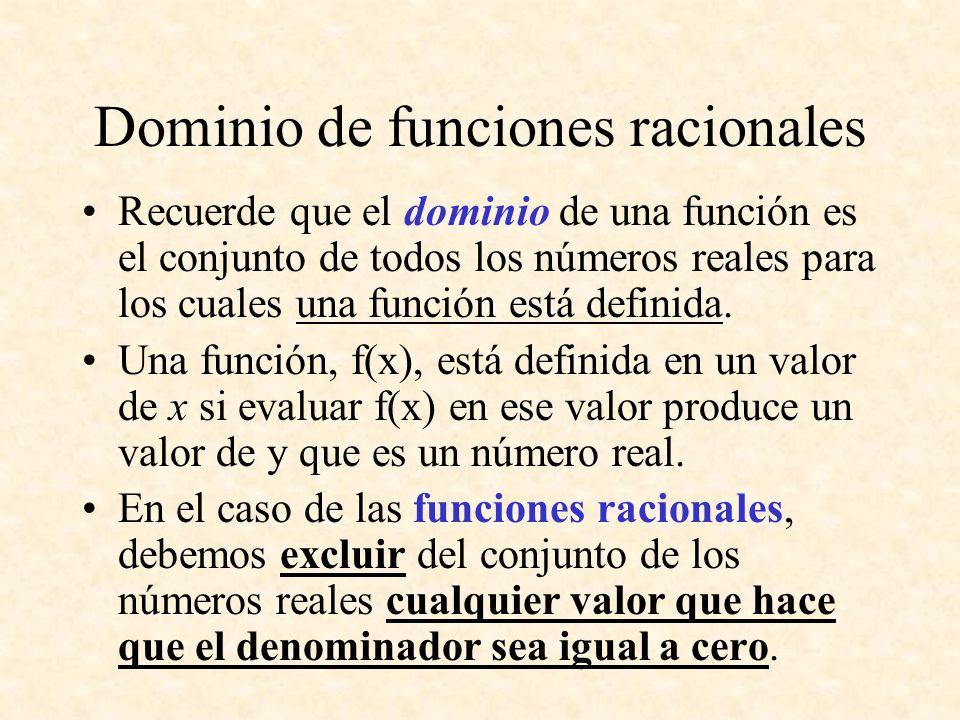 Dominio de funciones racionales