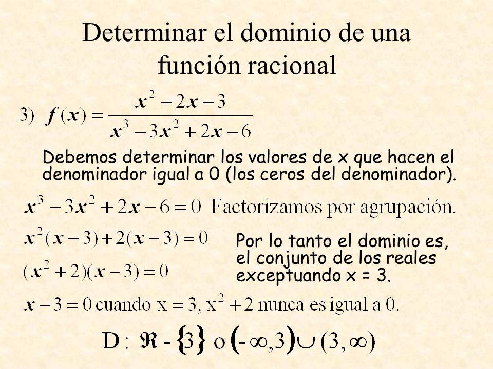 Determinar el dominio de una función racional