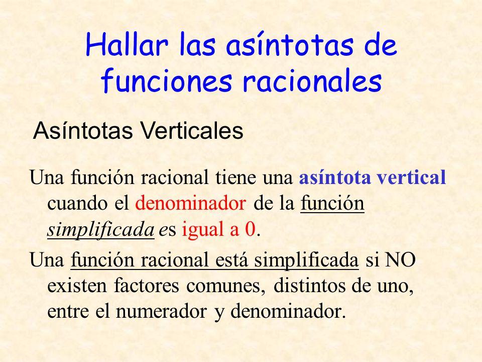 Hallar las asíntotas de funciones racionales