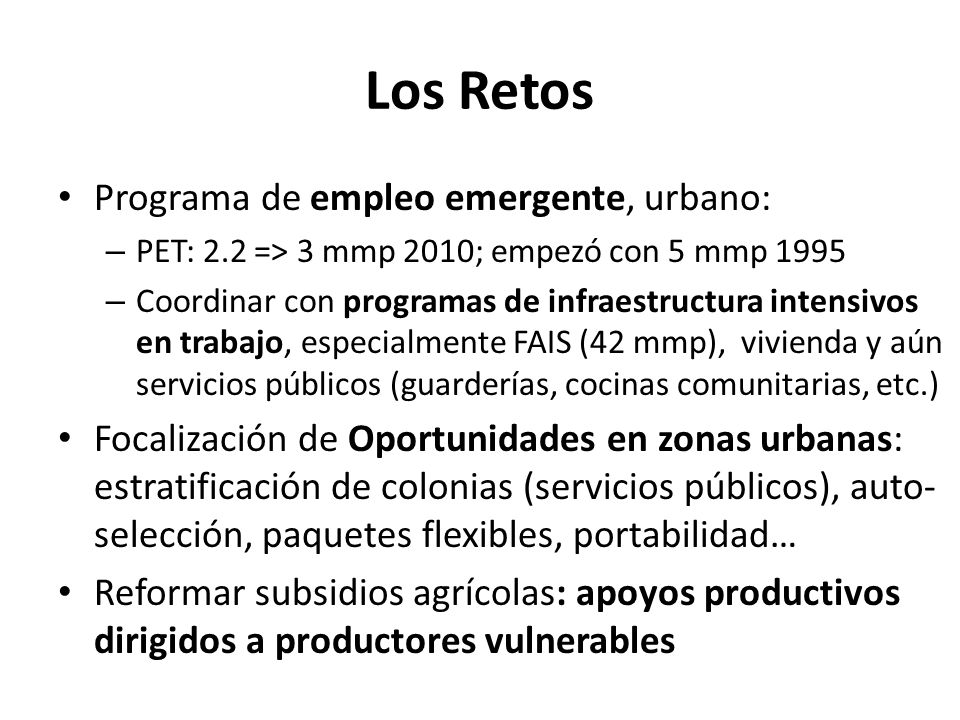 Los Retos Programa de empleo emergente, urbano: