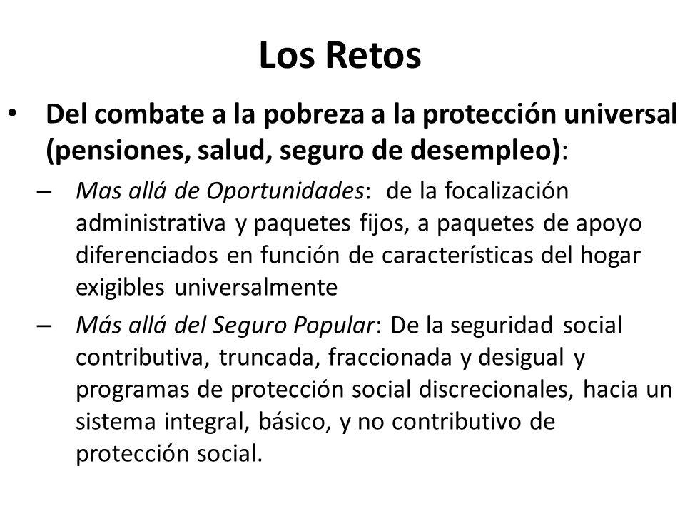 Los Retos Del combate a la pobreza a la protección universal (pensiones, salud, seguro de desempleo):