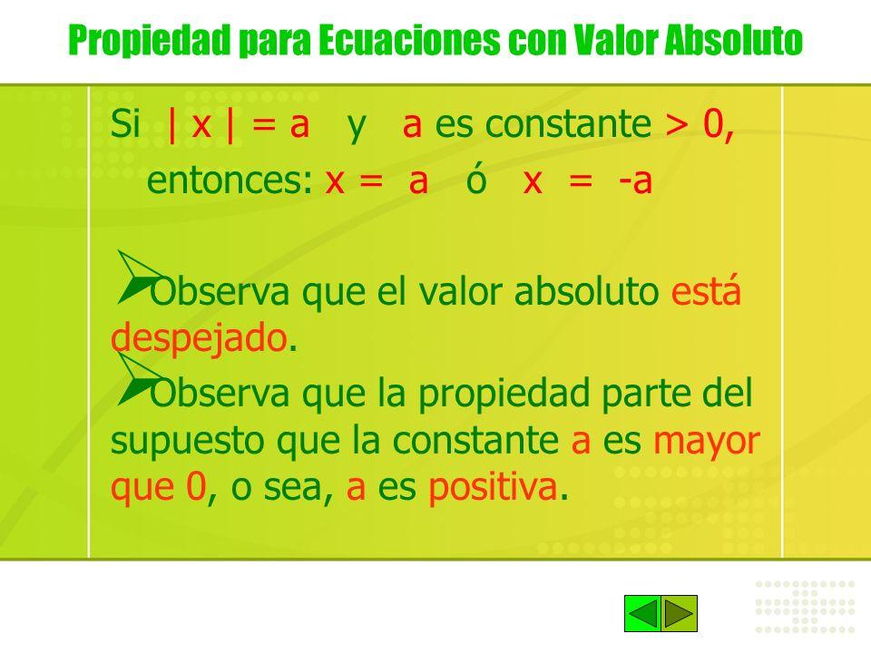 Propiedad para Ecuaciones con Valor Absoluto