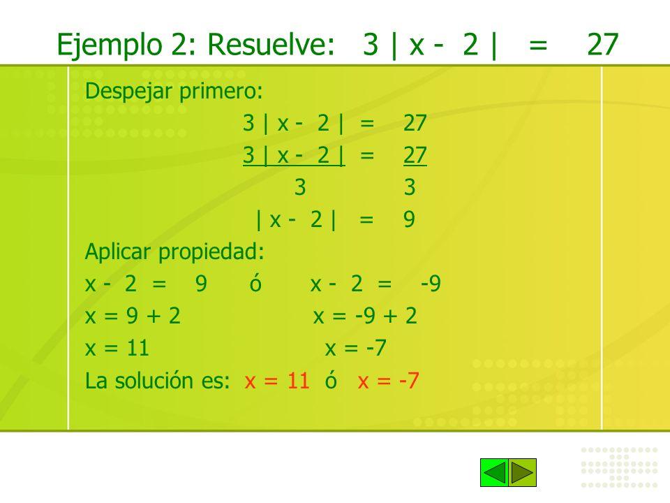 Ejemplo 2: Resuelve: 3 | x - 2 | = 27