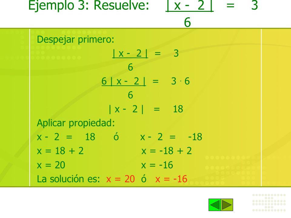 Ejemplo 3: Resuelve: | x - 2 | = 3 6
