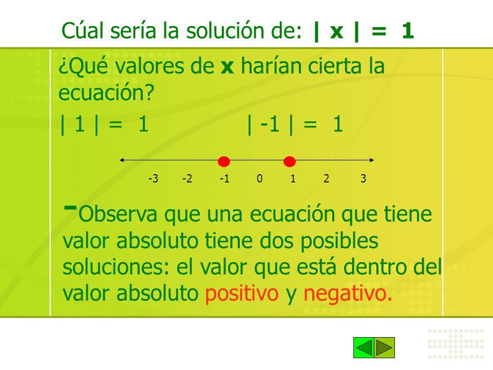 Cúal sería la solución de: | x | = 1