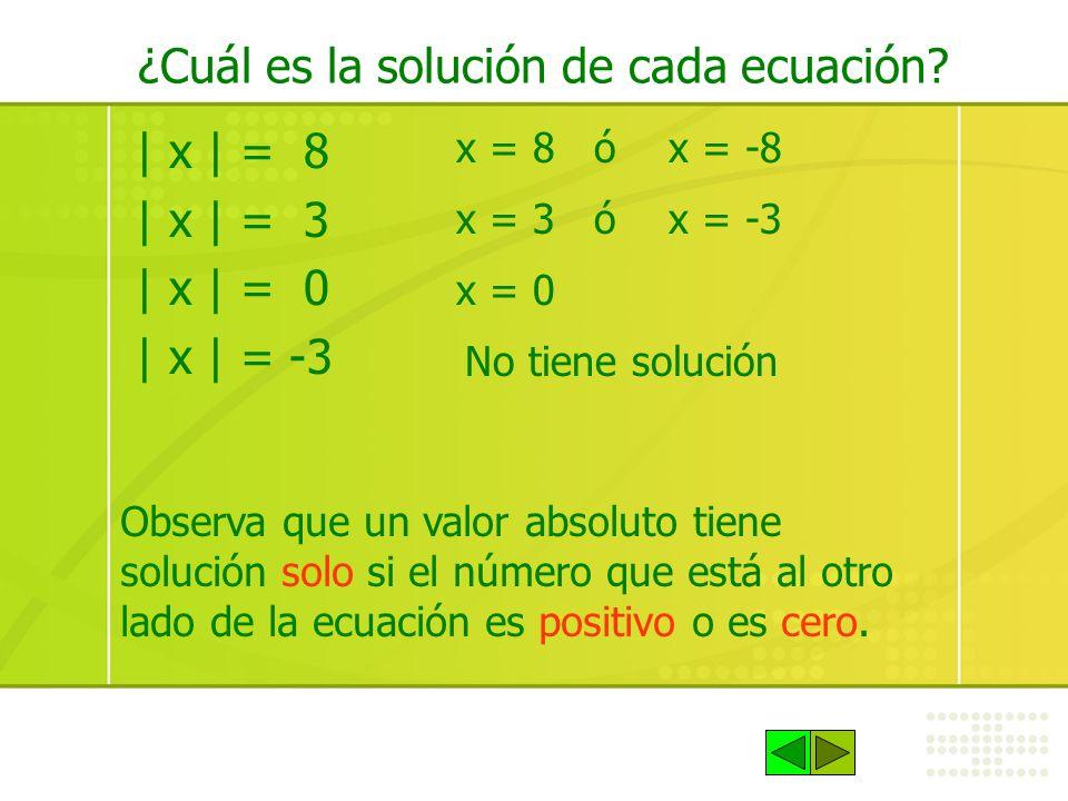 ¿Cuál es la solución de cada ecuación