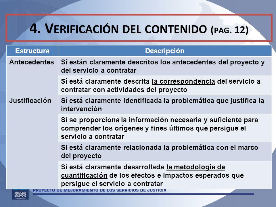 4. Verificación del contenido (pag. 12)
