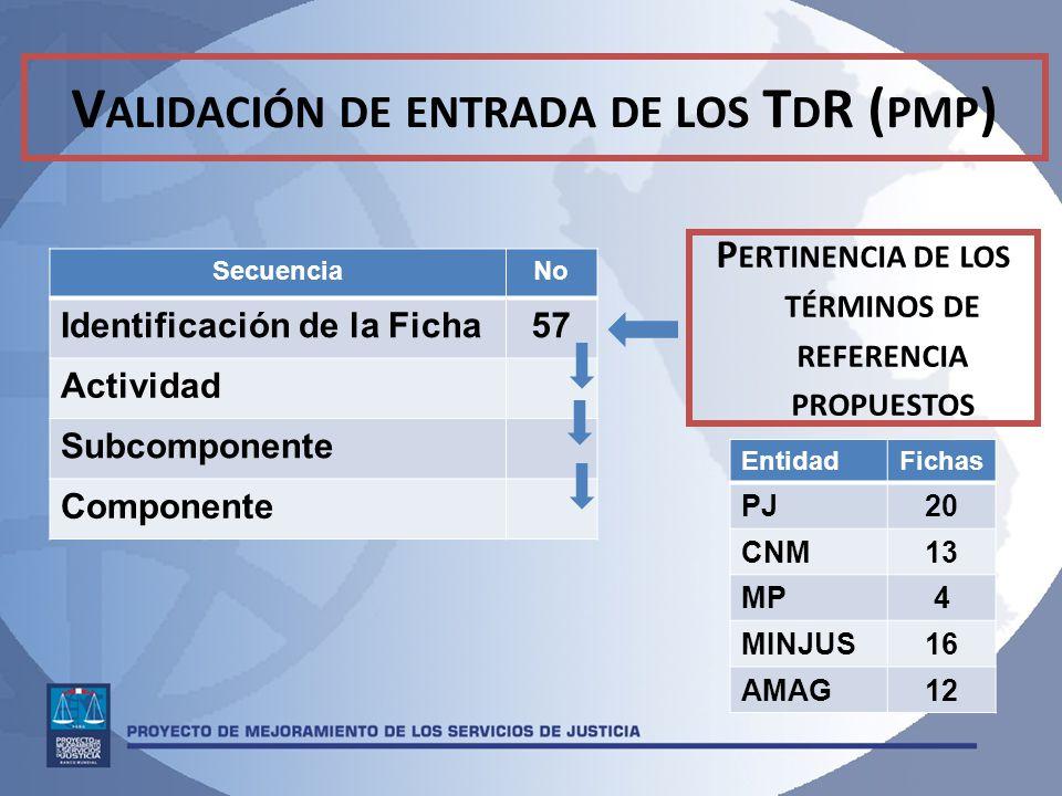 Validación de entrada de los TdR (pmp)