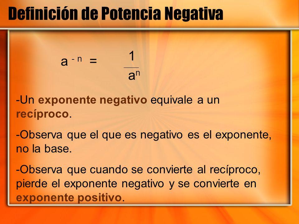 Definición de Potencia Negativa