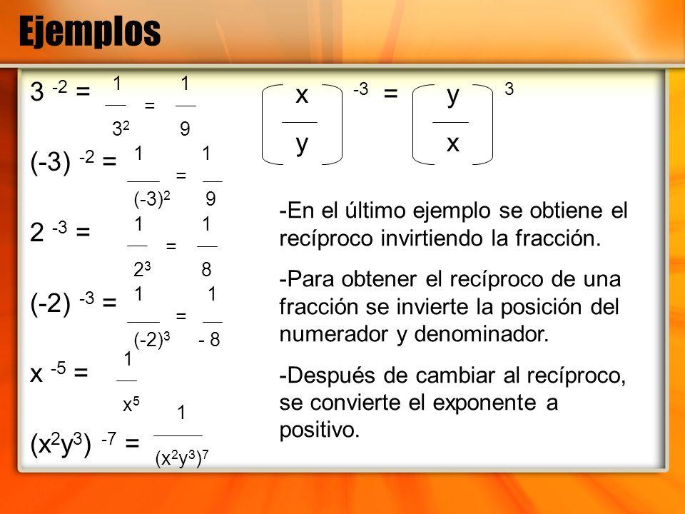 Ejemplos 3 -2 = (-3) -2 = 2 -3 = (-2) -3 = x -5 = (x2y3) -7 = x -3 = y