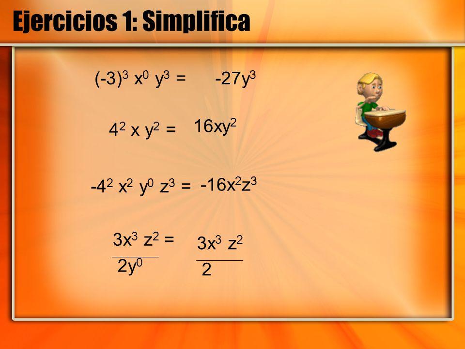 Ejercicios 1: Simplifica